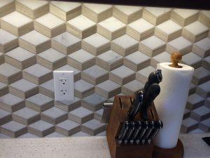 3D illusion tiled backsplash in kitchen
