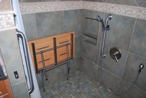 shower made with phenolic resin to prevent mold and rot, shower benches used to be the go-to convenience piece for someone with physical limitations