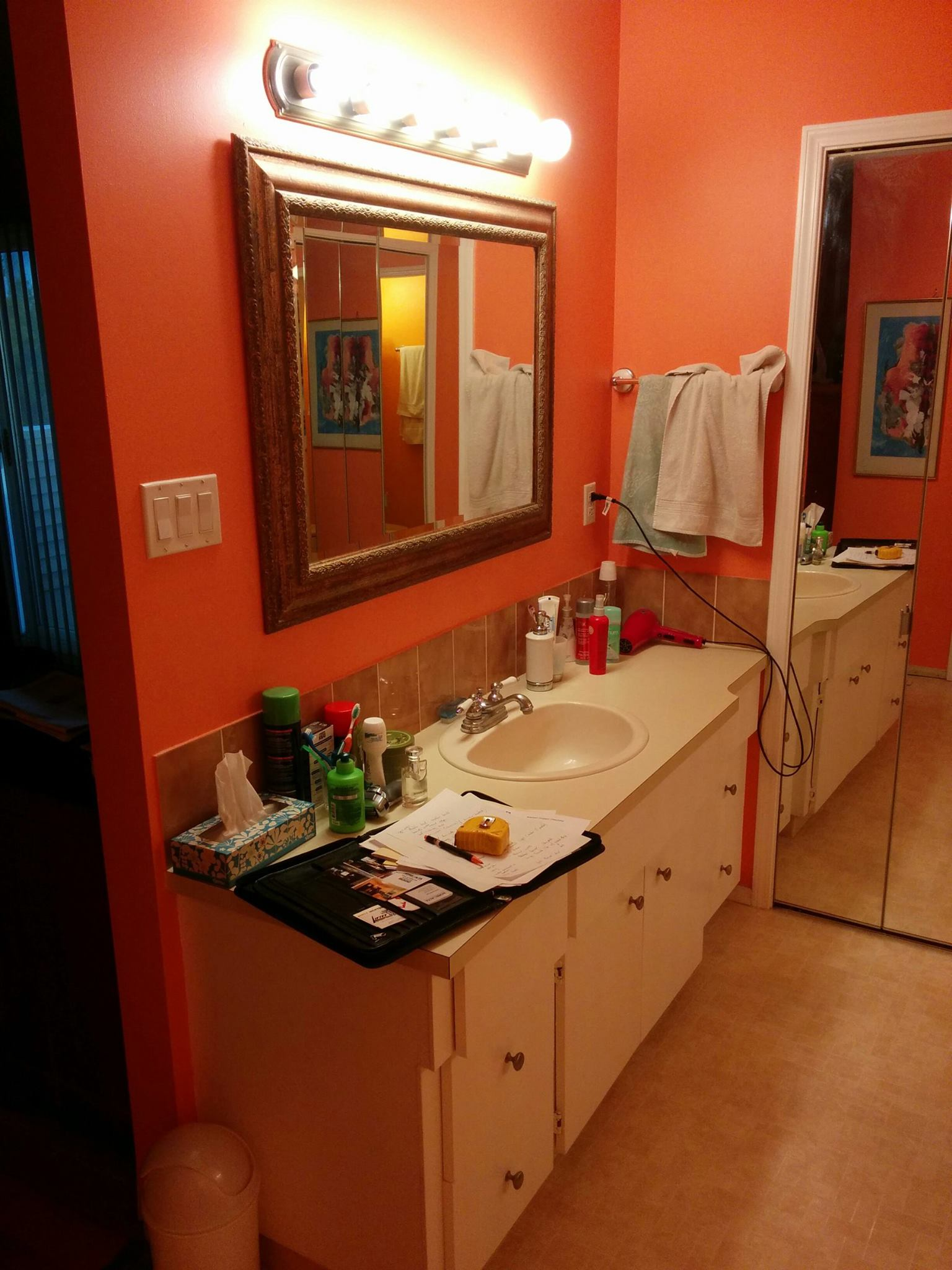 This is a before picture of the bathroom. As you can see, there is a drastic change between the old and new.